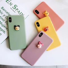 3D simple cute cartoon Winnie pig mouse tiger phone case For iphone Xs MAX XR X 6 6s 7 8 plus Couple candy soft TPU back Cover