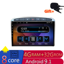 """9 """"4G RAM 2.5D IPS 8 Core Android 9,1 coche DVD reproductor Multimedia GPS para Peugeot 308 Peugeot 408 308SW 2007-2014 radio Estéreo navegación"""