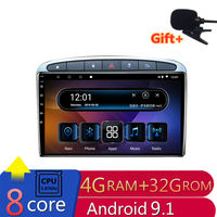 9 4G RAM 2.5D IPS 8 Core Android 9.1 Car DVD Multimedia Player GPS for Peugeot 308 408 308SW 2007 2014 radio stereo navigation