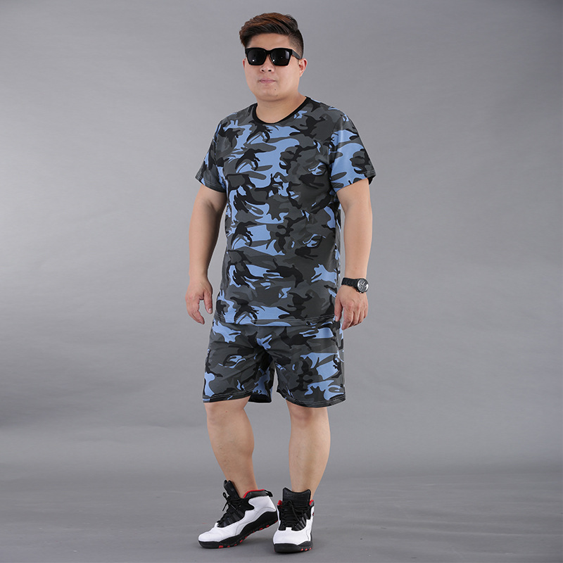 Summer New Products Large Size Men'S Wear Plus-sized Casual Short Sleeve Camouflage Pure Cotton Set MEN'S T-shirt