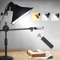 Desktop Photography Phone Shooting Bracket Stand+Boom Arm+LED Lamp+Reflector Softbox Continuous Lighting Kits For Photo Video