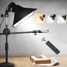 שולחן העבודה צילום טלפון ירי סוגר Stand + בום זרוע + LED מנורה + רפלקטור Softbox רציף ערכות תאורת תמונה וידאו