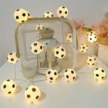 Гирлянда для футбольных мячей, 10 светодиодов, гирлянда для футбола, декоративное освещение для спальни, дома, свадьбы, вечеринки, Рождества, ...