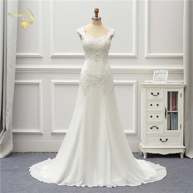 Jeanne Liefde Chiffon Mermaid Trouwjurken 2020 Kralen Applique Lace Robe De Mariage Vestido De Noiva Brida Jurken Wedding Gown