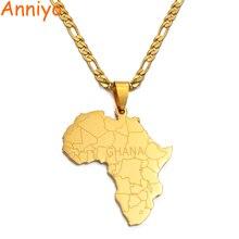 Anniyo Африка Карта с Ганой кулон ожерелья золотого цвета ювелирные изделия для женщин мужчин карты Африки Ювелирные изделия Подарки#042021