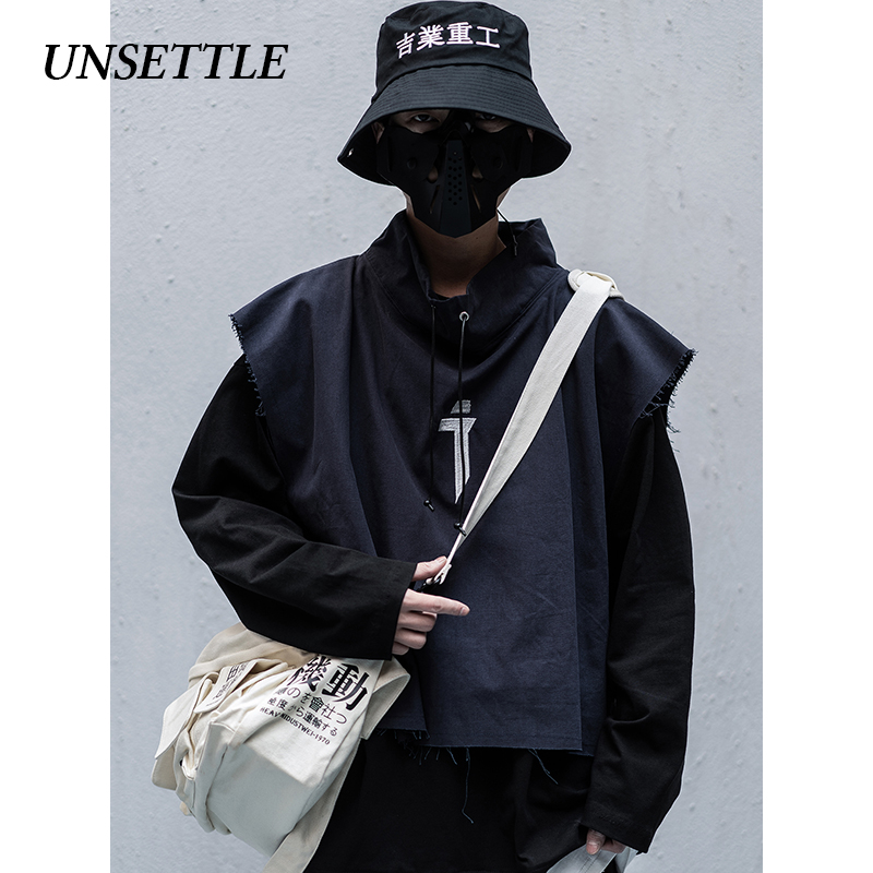 UNSETTLE 2020SS Men/Women Harajuku Ninja Tactics Vest Sweater Two-piece Suit Embroidery Coats Hip Hop Streetwear Male Tops