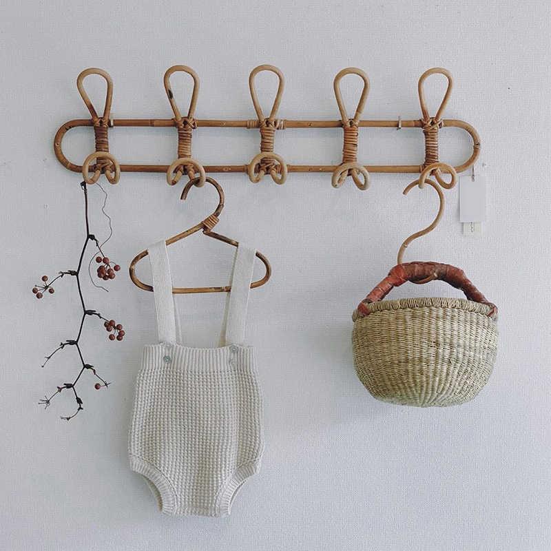 Handmade Rattan Wall Hooks Clothes Hat Hanging Kids Garments Organizer Rack New