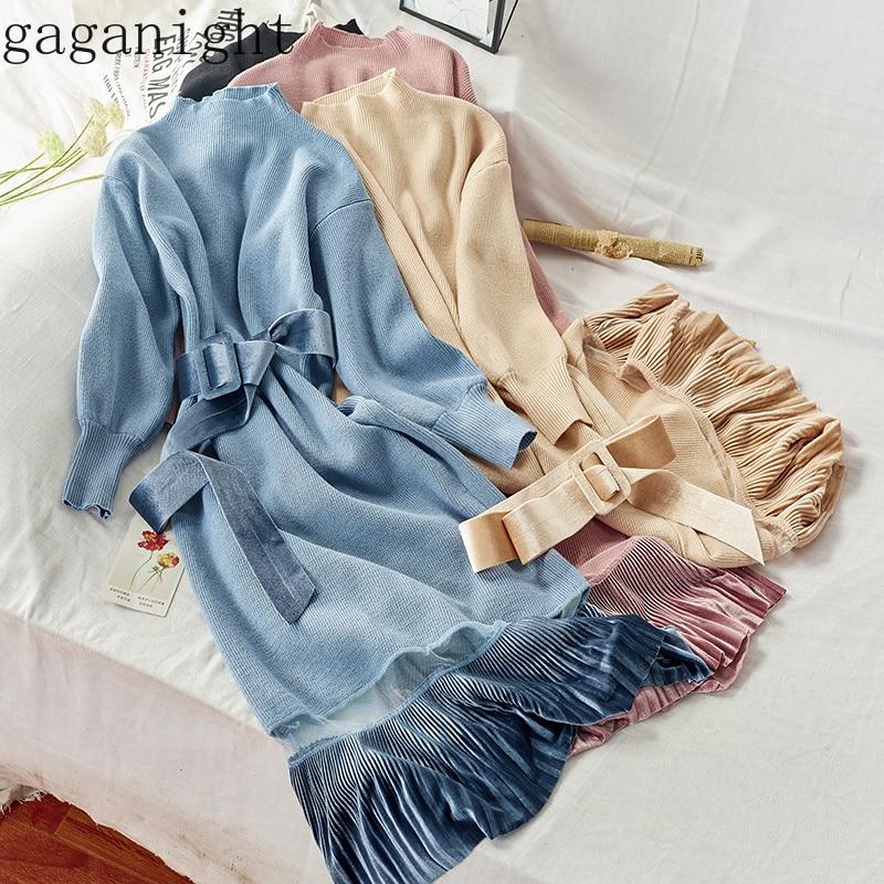 Gaganight элегантное женское осенне-зимнее платье макси с длинными рукавами, половина водолазки, Платья для вечеринок, вязаное бархатное свобод...