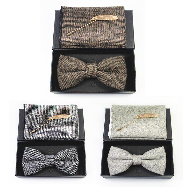 JEMYGINS  Fashion Vintage Wool Bow Ties For Men Cravats Cashmere Self Bowtie Pocket Square & Pin Set For Wedding Party Show Tie