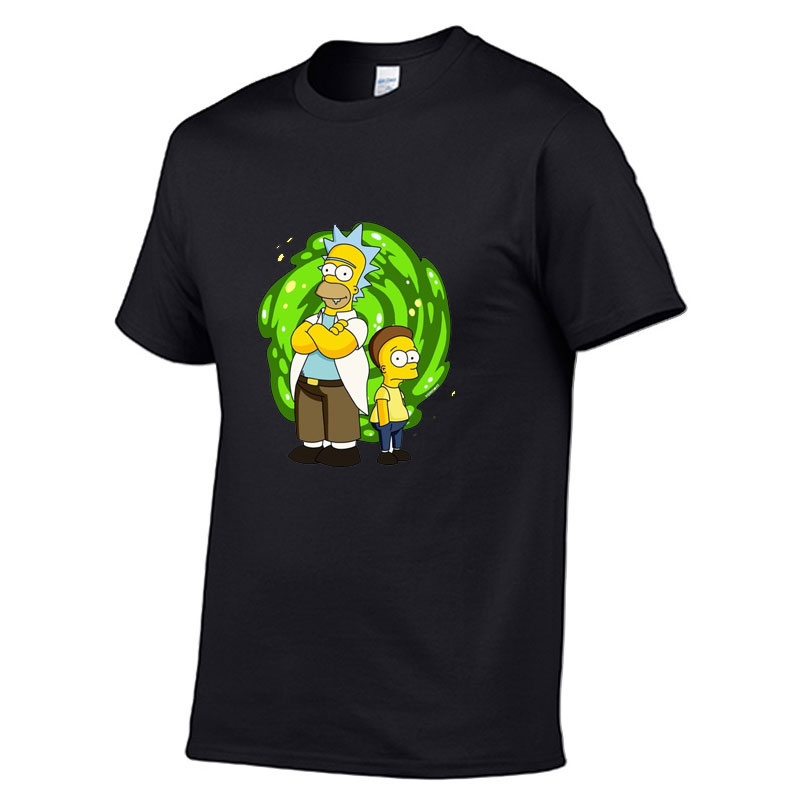 Rick And Morty  Men's High Quality T-shirt Short Sleeve Cotton Crewneck Loose Print Men Tshirt Casual Fitness Mens T-shirt Tops