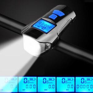 Велосипедный компьютер с фонариком, велосипедный копьютер, спидометр, гудок на 6 режимов и велосипедный передний светодиодный фонарь на 4 ре...