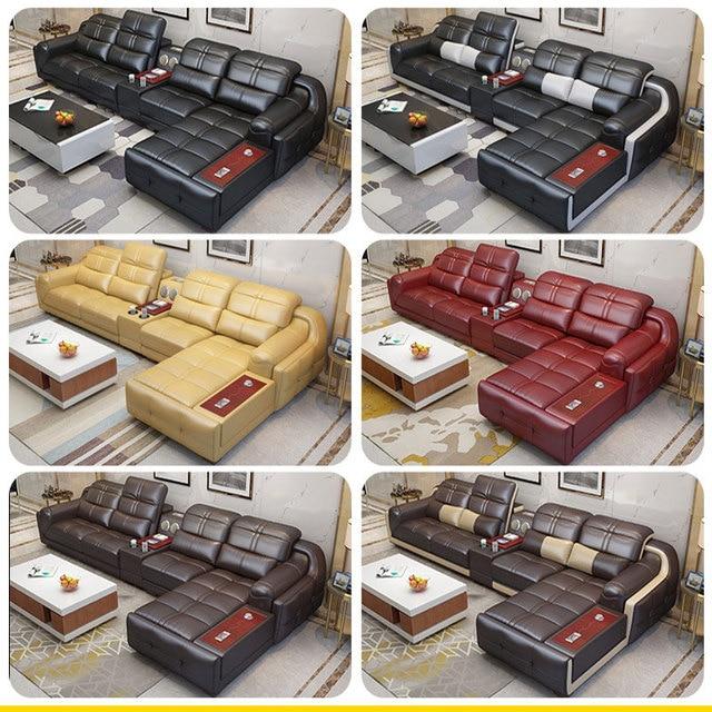 EZ-home Modern simple leather multi-functional sofa 3