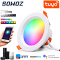 Светодиодный точечный светильник, Wi-Fi, Смарт-приложение Tuya затемнения круглые светлые пятна светильник 5 Вт RGB Цвет изменение теплый холодны...