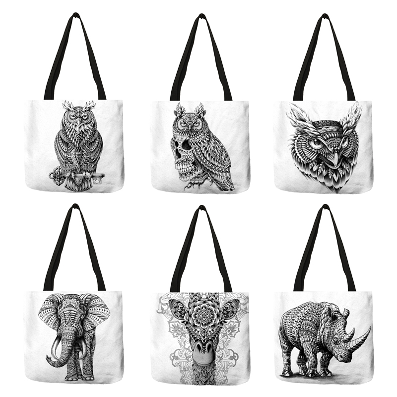 Simple Design Feminin Sac A Main HandBag Animal Painting Elephant Owl Eco Linen Shoulder Bags Foldable Reusable Bag For Women