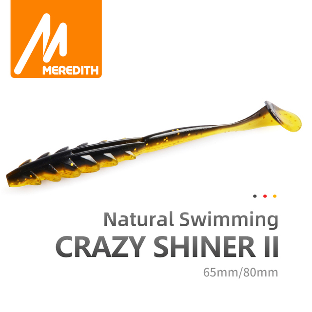 MEREDITH Crazy Shiner II Soft Lure 65mm 80mm Fishing Lure Shad Silicone Baits T tail Wobblers Swimbait Artificial leurre souple
