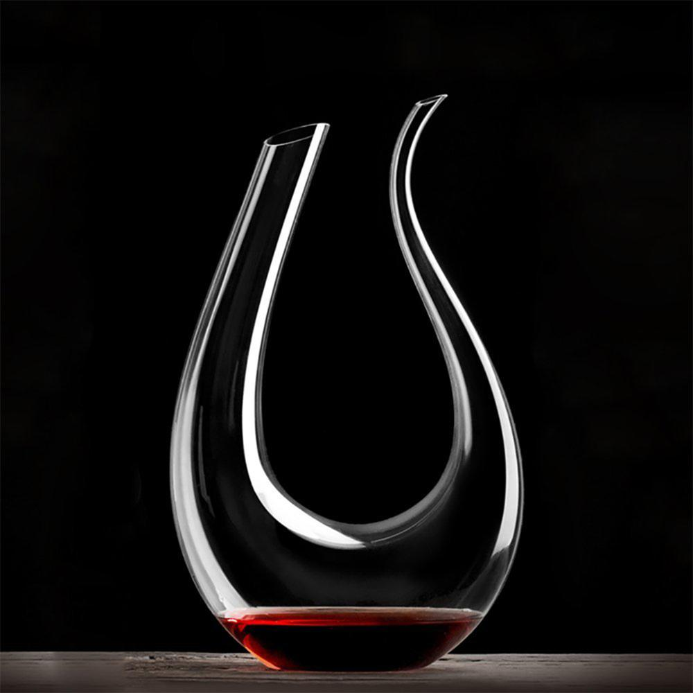 Luxurious U Shaped Crystal Red Wine Horn Glass Decanter Aerator Carafe Pourer new for Party Christmas
