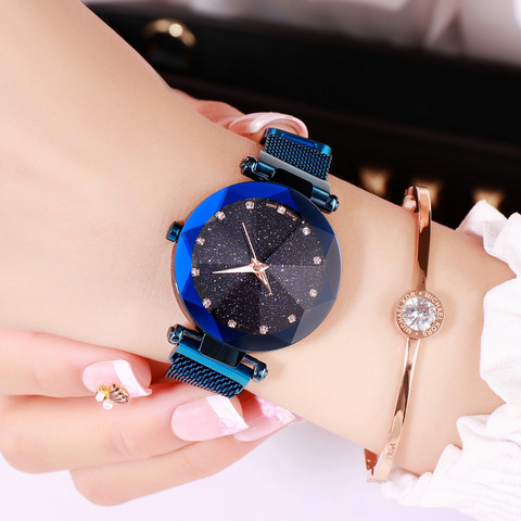 Fashion Star Sky Series Women Watches Cold Wind Dazzling Colorful Lazy Watches Female Magnet Button Quartz Wrist Watches Karachi