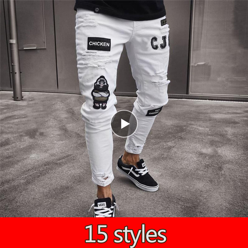 15 Styles Men's Vintage Ripped Jeans Biker Skinny Slim Fit Zipper Denim Pant Destroyed Frayed Trousers Embroidery Style Pants