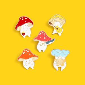 Cartoon Cute Mushroom Enamel Pin Custom Funny Guitar Accordion Brooches Bag Lapel Pin Badge Plant Jewelry Gift for Kids Friends