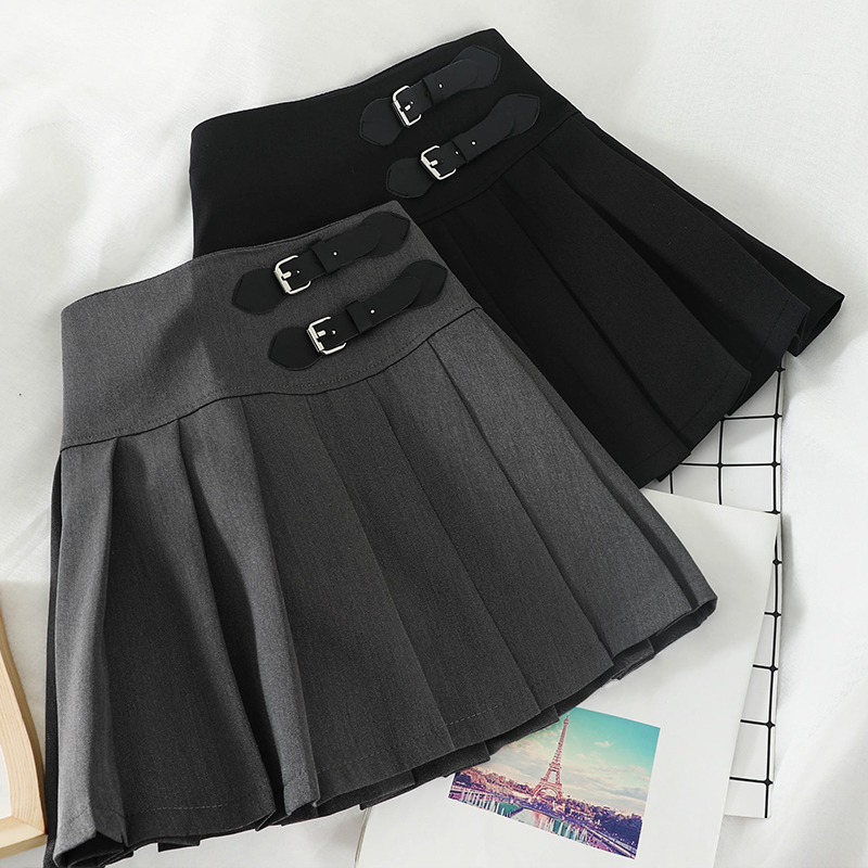 Harajuku Korean Solid A-Line Women Skirt Casual Above Knee High Waist Kawaii Skirts Vogue Button Cute Sweet Pleated Skirts