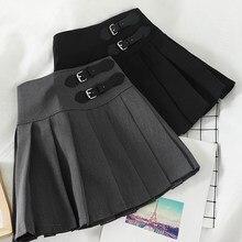 Harajuku coreano sólido a-line saia feminina casual acima do joelho cintura alta kawaii saias vogue botão bonito doce saias plissadas
