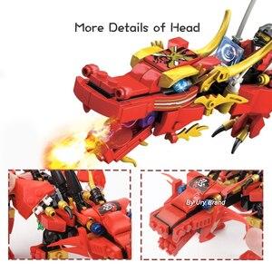 Image 5 - Ninja Series Kais Flying Red Ninja Dragon Fighting Mech Set 2in1 Set Figures Educational Building Blocks Toys For Children Gift