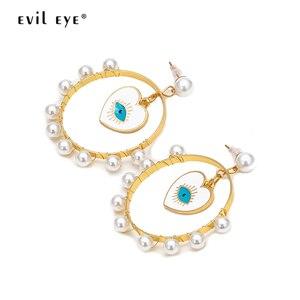 Сглаза, жемчужные серьги-подвески в форме сердца, Золотое кольцо, висячие серьги, модные ювелирные изделия для женщин и девочек EY6655
