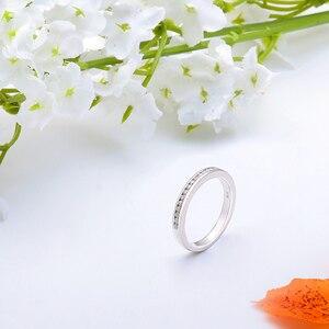 Image 3 - DovEggs banda de boda de media eternidad para mujer, oro blanco sólido de 10K, 1,4mm, Color GH, moissanita
