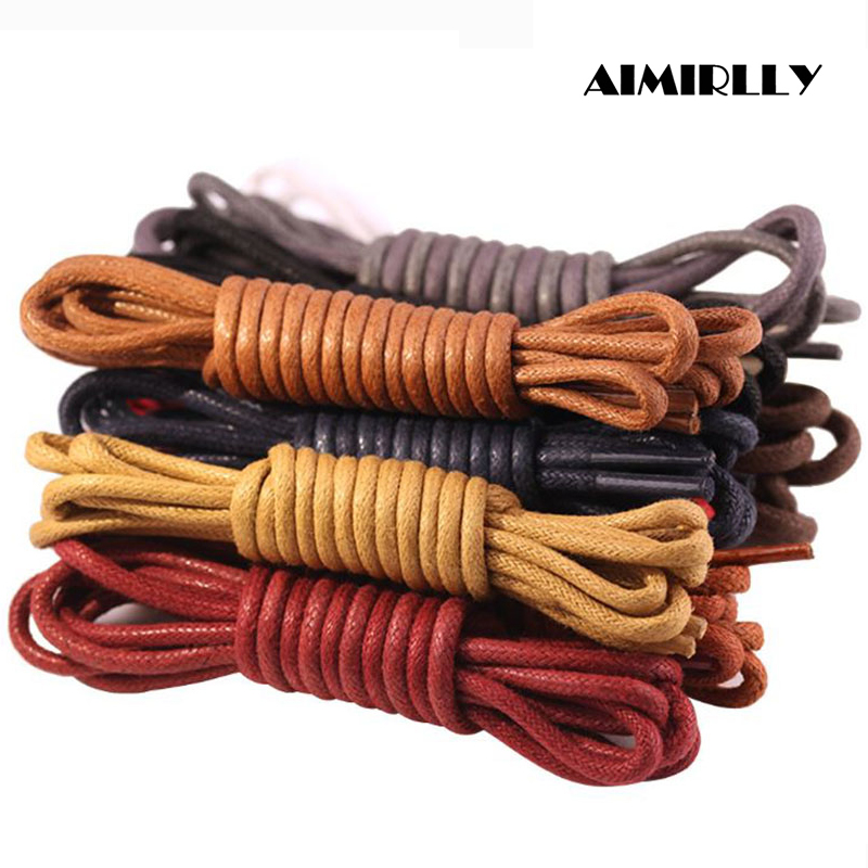1 Pair Round Shoe Laces Waterproof Leather Men Women Shoes Wax Ropes Accessory