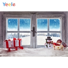 Yeele Christmas Winter Snow Window Snowman Gift Backdrop Baby Portrait Vinyl Photography Background For Photo Studio Photophone