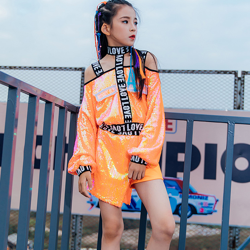 Children'S Jazz Dance Costume Sequin Suit Girls Hip Hop Models Catwalk Trendy Handsome Korean Version Hip-Hop Clothes DL5100