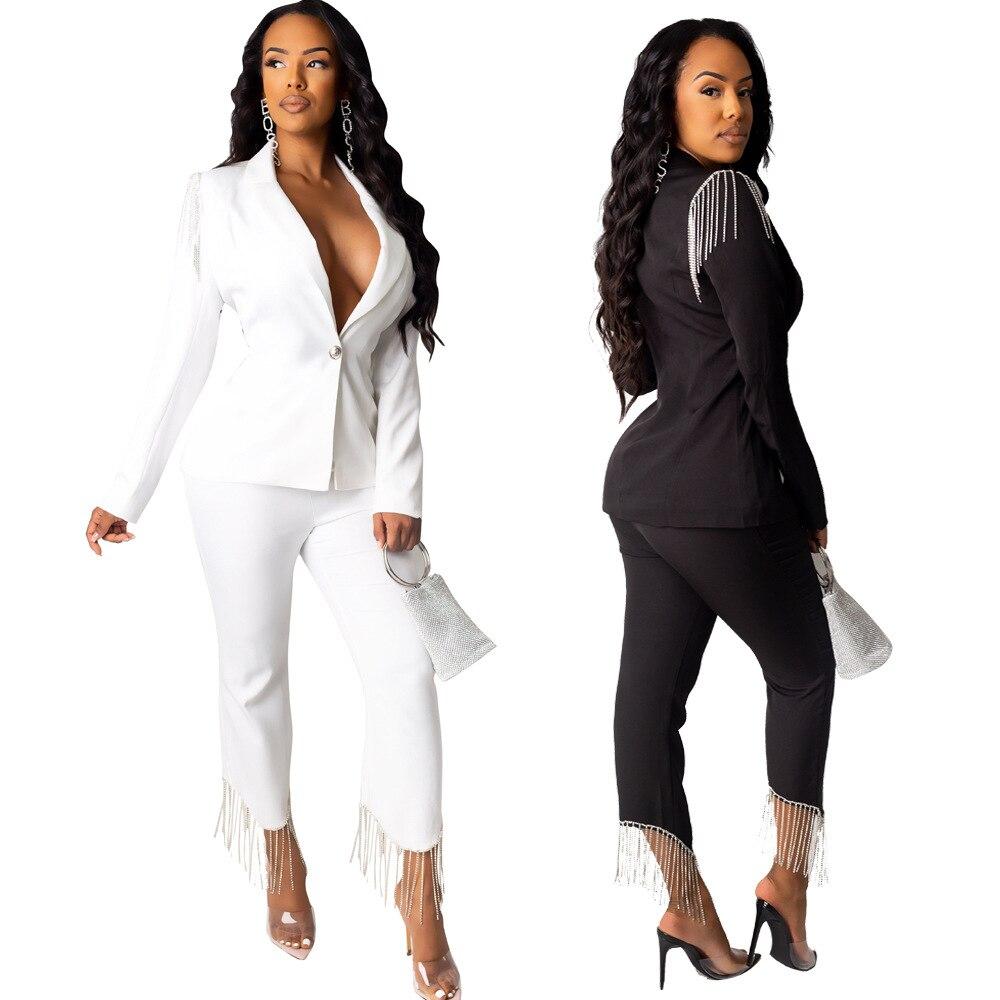 Women's Suit Two Piece Set For Women Coat Pants 2 Piece Set For Female Office Two Piece Sets Black White