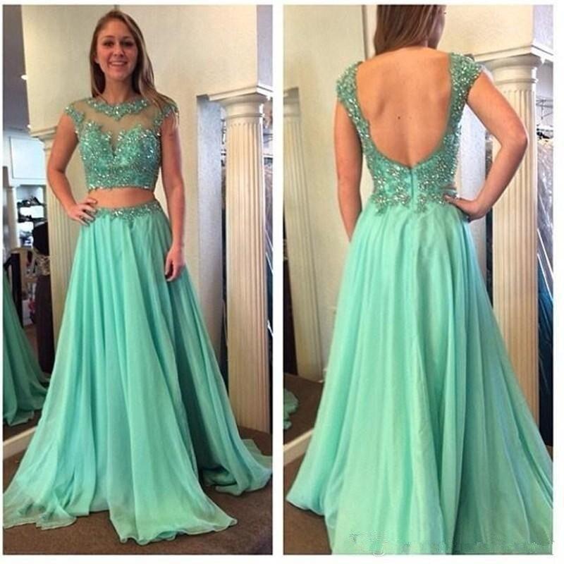Sexy Backless Vestidos De Gala Longo Luxury Beaded Green Long Party Vestido Longo Lace Appliques Two-piece Prom Dresses 2020