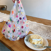 Korea ins fashion translucent tulle embroidery flower bag floral fairy small mesh hand bag protection convenient shopping bag
