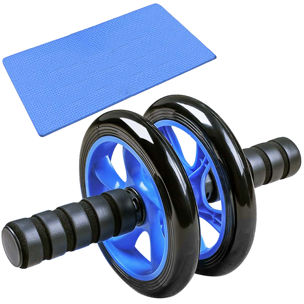 14cm Abdominal Roller With Kneeling Mat Double Wheel Abdominal Wheel Muscle Training Trainer Home Exercise Workout Fitness