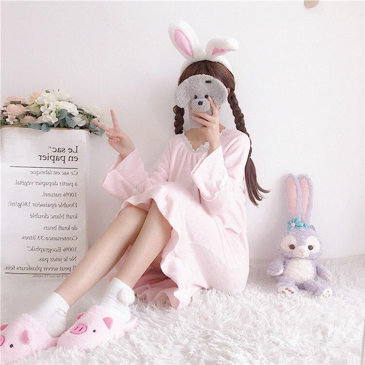 Sleepwear Dress V-neck Plus Size Winter Long Sleeve Nightgown Women Thick Flannel Lace-up Women's Sleepwear Mid-length Costumes