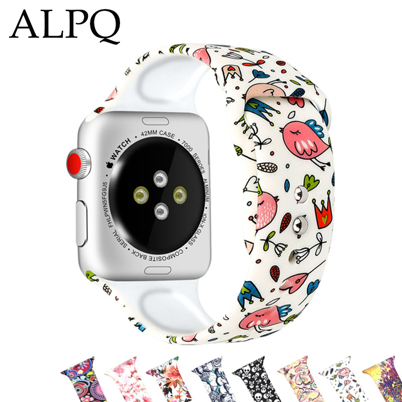 ALPQ Floral Flower Sport Bands For Apple Watch Series 5 4 3 2 1 40mm 44mm Silicone Pattern Printed Strap For IWatch 38mm 42mm