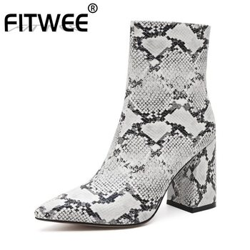 FITWEE 8 Color Zipper Sexy Ladies Ankle Boots Womyer Zipper High Heels Fashion Short Boots Zipper  Footwear Size 34-43