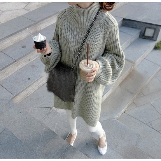 Autumn Women Lantern Sleeve Tricot Sweater Turtleneck Oversized Long Thick Pullovers Tricot Pull Femme Sweater