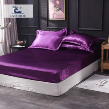 Liv-Esthete 1PCS Purple Fitted Sheet Silk Luxury Adult Mattress Cover Bed On Elastic Band Decor Double Queen Rubber