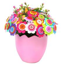 Kids Craft DIY Eggshell Button Flowers Good Material Flexibility Cute shape Non-woven Cloth Potted Plant Aids Toys(China)