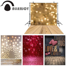 Allenjoy photography backdrop wood floor gold love heart bokeh light background 14 Valentines day party photo studio photophone