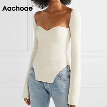 Pullover Sweater Flare Square Neck Aachoae Sexy Tops Knitted Long-Sleeve Chic Women Lady