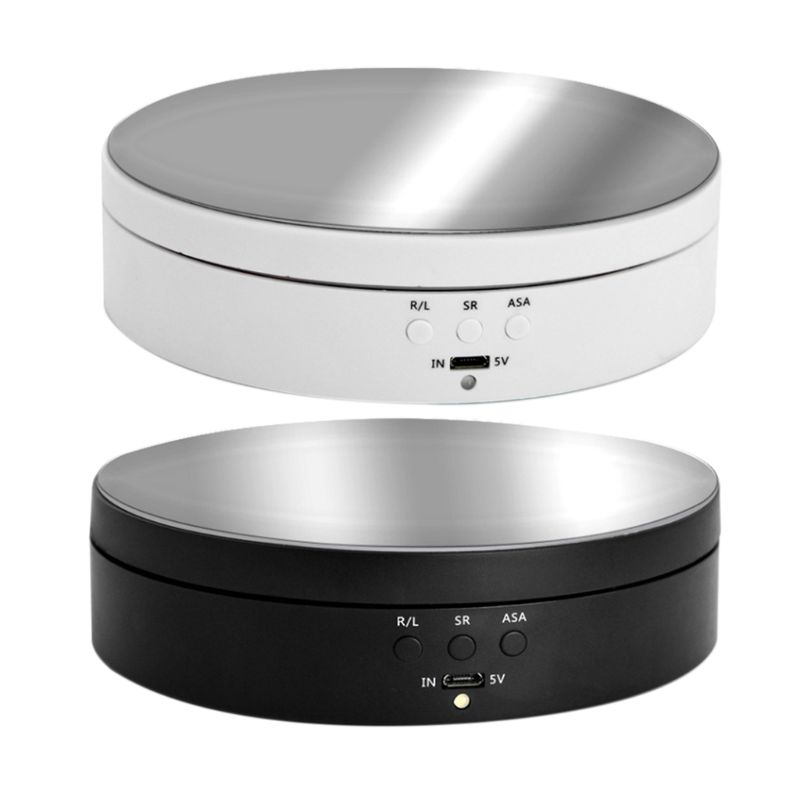3 Speeds Electric Rotating Display Stand Mirror Turntable Jewelry Holder Battery With USB Cable