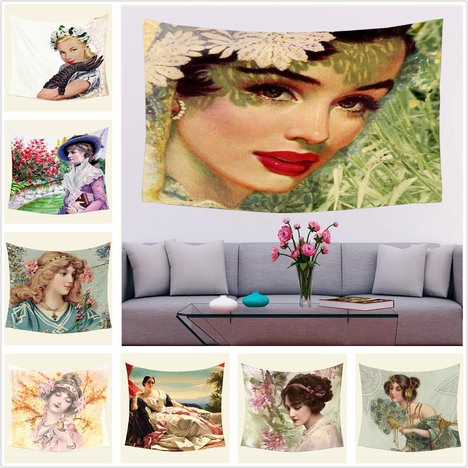 Винтажный Ретро женский гобелен с рисунком масляной живописи, Настенный Коврик для йоги, пляжный коврик, покрывало для дома, чехлы