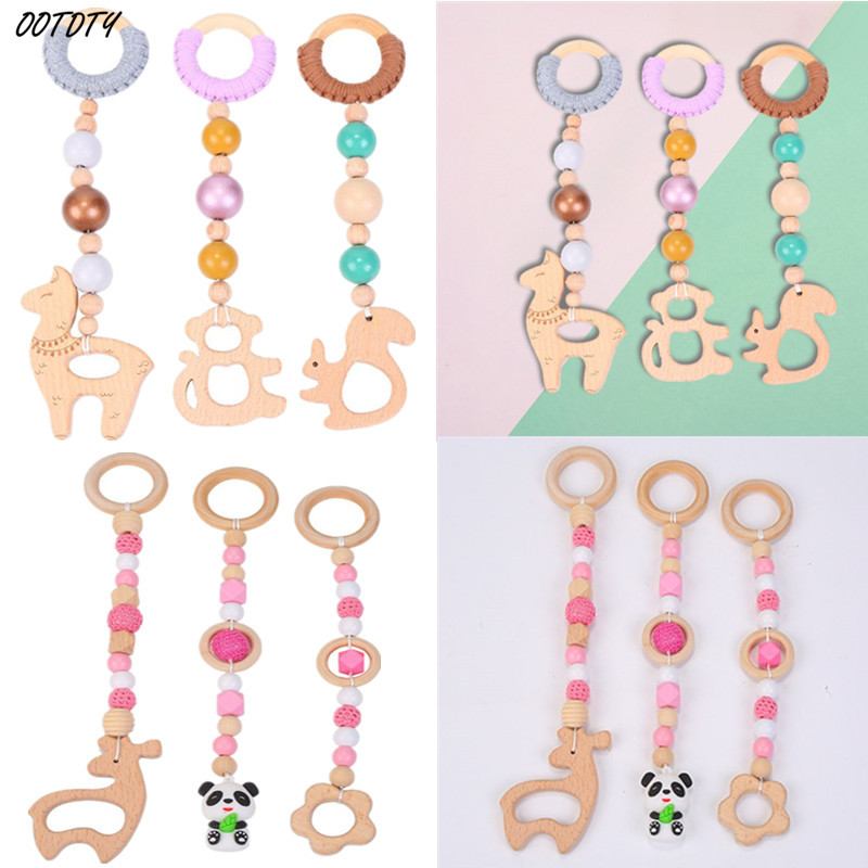 OOTDTY 3Pcs/Set Baby Play Gym Frame Beech Beads Pendants Stroller Hanging Rattle Toys Cartoon Room Decoration Gifts