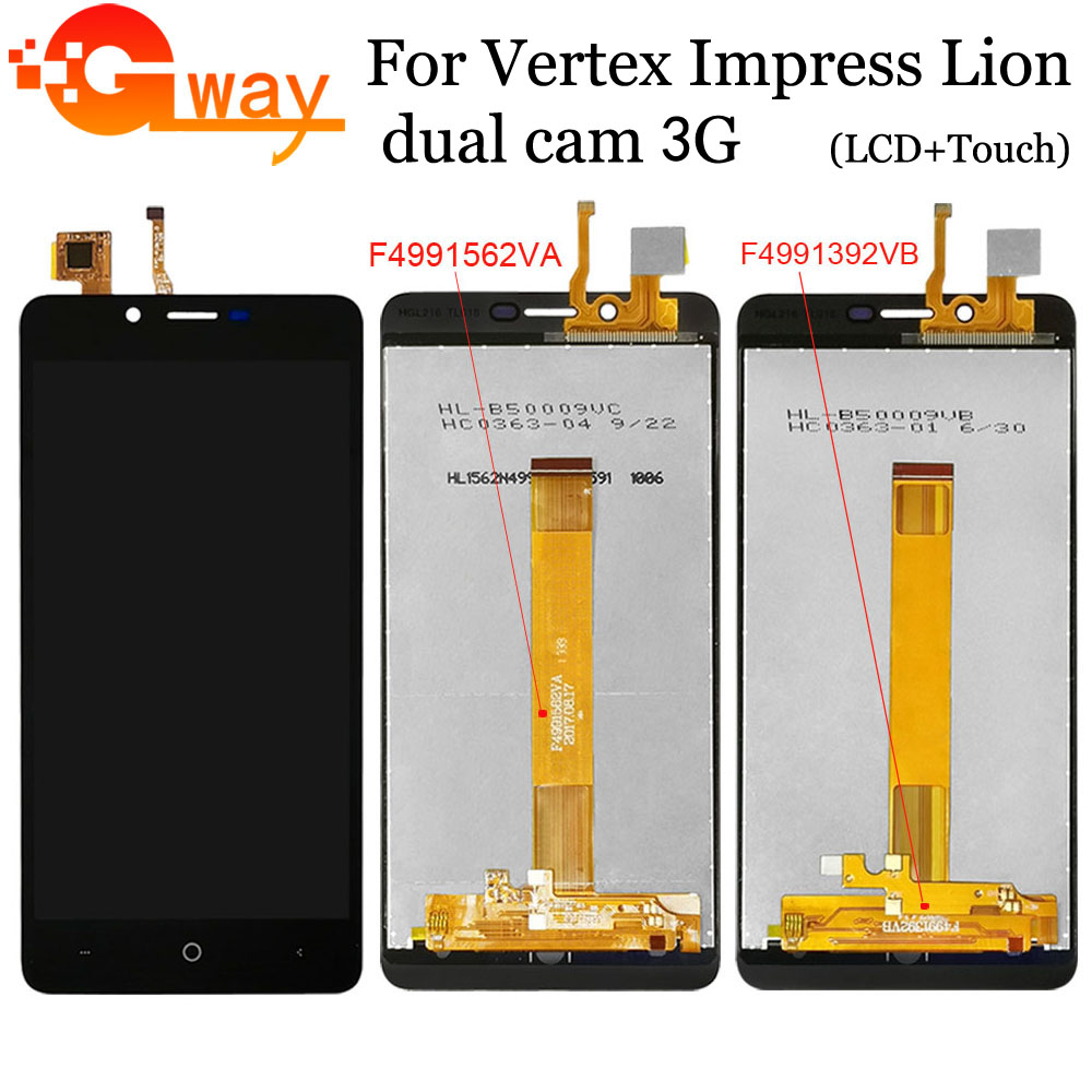 5 Inch For Vertex Impress Lion Dual Cam 3G LCD Display + Touch Screen Digitizer Sensor Assembly With Free Tools