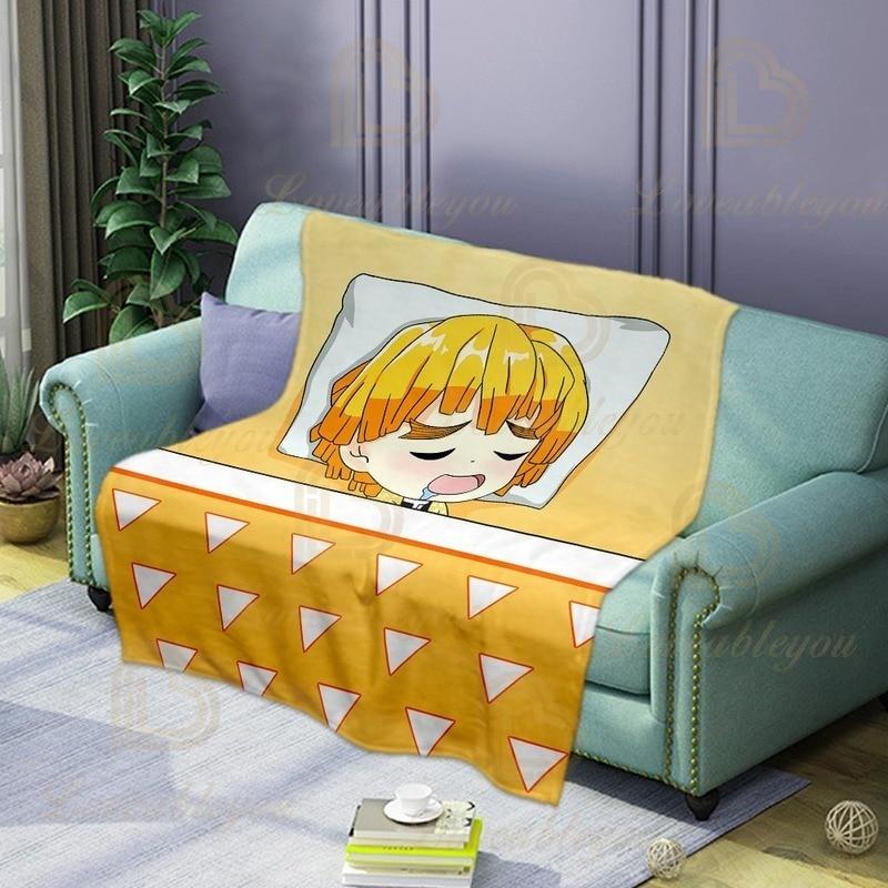 Мягкое и удобное одеяло Agatsuma Zenitsu для рассекания демонов, фланелевое одеяло для сна на кровати или диване, сохраняет тепло