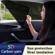 Privacidade Car window sombrinha 2 pçs/set 5D fios De Carbono Estilo Do Carro Automóveis Acessórios de proteção Solar e isolamento térmico