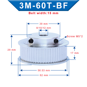 3M-60T Pulley BF shape Inner Bore 8/10/12mm Aluminum Material Pulley Wheel Slot Width 17mm For 3M-Rubber Timing Belt Width 15mm цена 2017
